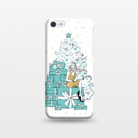 iPhone 5C  Christmas Tree with gifts by Martina (woman,lady,girl,feminine,girlie,festive,seasonal,celebration,holiday,xmas,christmas,stylish,modern,gifts,presents,drink,champagne,stars,tiffanys,party,tree,xmas tree,christmas tree,christmas eve)