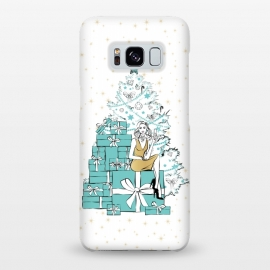 Galaxy S8+  Christmas Tree with gifts by Martina (woman,lady,girl,feminine,girlie,festive,seasonal,celebration,holiday,xmas,christmas,stylish,modern,gifts,presents,drink,champagne,stars,tiffanys,party,tree,xmas tree,christmas tree,christmas eve)