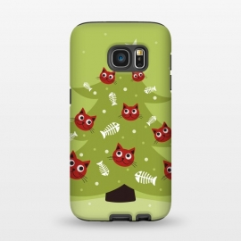 Galaxy S7  Cat Christmas Tree With Fish Ornaments by Boriana Giormova