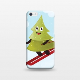 iPhone 5C  Happy Skiing Pine Tree by Boriana Giormova
