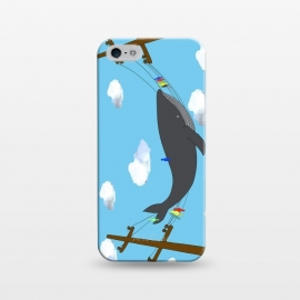 iPhone 5/5E/5s  There's Not Always Room For One More by Amaya Brydon (whale,sea,fun,ocean,illustration,telephone,birds,humpback,whales,fish,clouds)