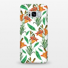 Galaxy S8+  Floral Delight by Uma Prabhakar Gokhale (graphic, acrylic, floral, nature, orange, blossom, bloom, botanical, green, red, exotic)
