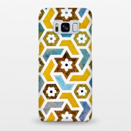 Galaxy S8+  Moroccan Bliss by Uma Prabhakar Gokhale (graphic, pattern, morocco, moroccan, exotic, tiles, geometrical, indian, yellow, bright, teal, blue, floral, oct17cb)