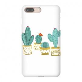 iPhone 8/7 plus  Cactus Garden V2 by  (watercolor, cactus, desert, nature, plant, golden, gold, house plant, flowers, polka dots, exotic, botanical)