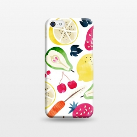 iPhone 5C  Veggie Heaven by Uma Prabhakar Gokhale (watercolor, pattern, fruits, food, grapes, lemons, tropical, exotic, strawberry, carrot, heathy, delicious, nature, botanical, cherries, onion, pear, beatroot)