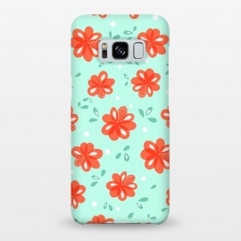 Galaxy S8+  Cheerful Decorative Red Flowers Pattern by Boriana Giormova