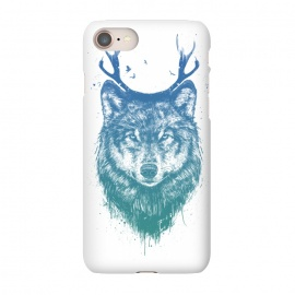 iPhone 8/7  Deer wolf by Balazs Solti (wolf,deer,antlers,drawing,surreal)
