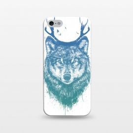 iPhone 5/5E/5s  Deer wolf by Balazs Solti (wolf,deer,antlers,drawing,surreal)