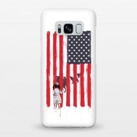 Galaxy S8+  Little girl and wolves by Balazs Solti (usa,flag,girl,animals,wolves)