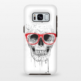 Skull with red glasses by Balazs Solti (skull,grunge,drawing)