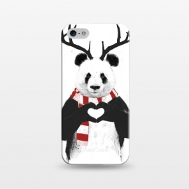 iPhone 5/5E/5s  Xmas panda by Balazs Solti (panda,xmas,christmas,winter,rudolp,antlers,deer)
