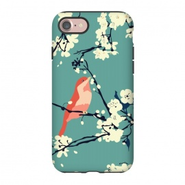 iPhone 8/7  Bird and Blossom by Zoe Charlotte (bird,cherry blossom, tree, spring,aqua,blossom,floral pattern,songbird,lovebird,japanese)