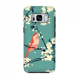 Bird and Blossom by Zoe Charlotte (bird,cherry blossom, tree, spring,aqua,blossom,floral pattern,songbird,lovebird,japanese)