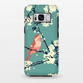 Galaxy S8 plus  Bird and Blossom by  (bird,cherry blossom, tree, spring,aqua,blossom,floral pattern,songbird,lovebird,japanese)