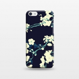 iPhone 5C  Cherry Blossoms by Zoe Charlotte (cherry blossom, spring,sakura,floral pattern,dark floral,navy,navy blue,aqua,blossom tree,tree,japanese)