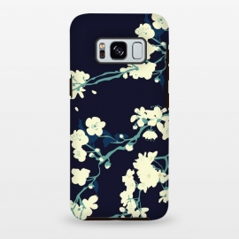 Galaxy S8 plus  Cherry Blossoms by  (cherry blossom, spring,sakura,floral pattern,dark floral,navy,navy blue,aqua,blossom tree,tree,japanese)