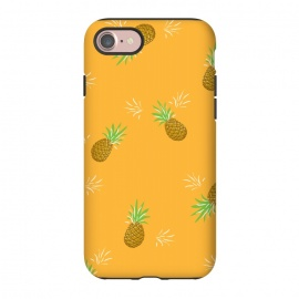 iPhone 8/7  Pineapples in Mango by Zoe Charlotte (pineapple, fruit,fruity,nature,fun,orange,mango,yellow,gold,juicy,pattern)