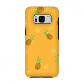 Pineapples in Mango by Zoe Charlotte (pineapple, fruit,fruity,nature,fun,orange,mango,yellow,gold,juicy,pattern)