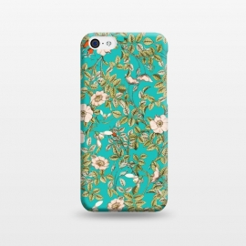 iPhone 5C  Teal Botanical by Uma Prabhakar Gokhale (graphic design, pattern, nature, teal, botanical, floral, blossom, bloom, white, red, blue, exotic, vines, flowers, green)