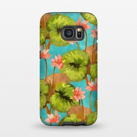 Galaxy S7  Zen V2 by Uma Prabhakar Gokhale (watercolor, typography, lotus, lotus pond, lily, floral, nature, tropical, peace, pure, botanical, pink, blush, green, water, blue, pond)