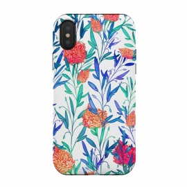 iPhone Xs / X  Vibrant Floral by Uma Prabhakar Gokhale (watercolor, pattern, floral, nature, colors, colorful, blossom, bloom, leaves, exotic)