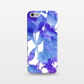 iPhone 5/5E/5s  Romance by Uma Prabhakar Gokhale (watercolor, floral, nature, botanical, blue, purple, violet, romantic, exotic, white, minimal, bright, bold)