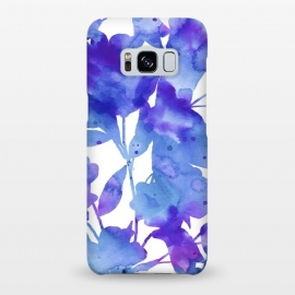 Galaxy S8+  Romance by Uma Prabhakar Gokhale (watercolor, floral, nature, botanical, blue, purple, violet, romantic, exotic, white, minimal, bright, bold)