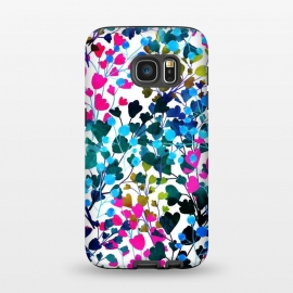 Galaxy S7  Biome by Uma Prabhakar Gokhale (watercolor, pattern, floral, wild, nature, vines, colorful, dark, contrast, blossom, leaves, pink, green, black, blue, yellow, gold, exotic, flora)