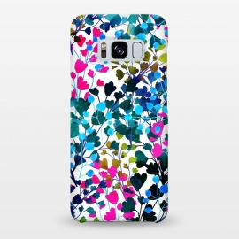 Galaxy S8+  Biome by Uma Prabhakar Gokhale (watercolor, pattern, floral, wild, nature, vines, colorful, dark, contrast, blossom, leaves, pink, green, black, blue, yellow, gold, exotic, flora)