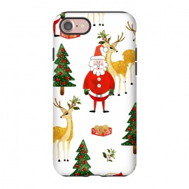 iPhone 8/7  Always Christmas by Uma Prabhakar Gokhale (watercolor, pattern, santa, santa claus, xmas, christmas, holidays, new years, winter, celebration, family, december, reindeer, christmas tree, gift ideas, red, green)