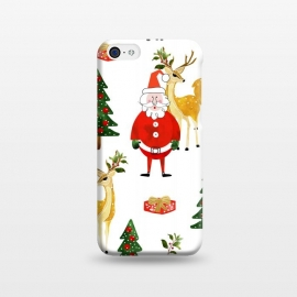 iPhone 5C  Always Christmas by Uma Prabhakar Gokhale (watercolor, pattern, santa, santa claus, xmas, christmas, holidays, new years, winter, celebration, family, december, reindeer, christmas tree, gift ideas, red, green)
