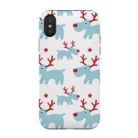 iPhone Xs / X  Cute Reindeers by  (cute,sweet,animals,reindeer,xmas,christmas,festive,pattern,seasonal,nature,for her,unisex,for kid)