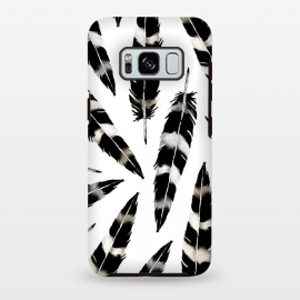 Galaxy S8 plus  Viking Feather by  (feather,feathers,viking,blackandwhite,nature,pattern,birds,bohemian)