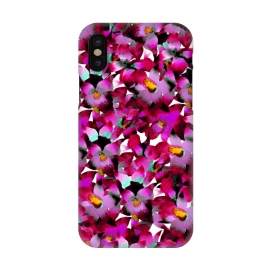 iPhone X  Pink Floral by Amaya Brydon (floral,pink,botanical,flowers,tropical,pattern,magenta)