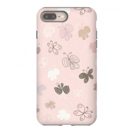 iPhone 8/7 plus  Pretty Pink and Purple Butterflies on Light Pink by Paula Ohreen