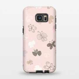 Galaxy S7 EDGE  Pretty Pink and Purple Butterflies on Light Pink by Paula Ohreen