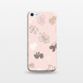 iPhone 5C  Pretty Pink and Purple Butterflies on Light Pink by Paula Ohreen