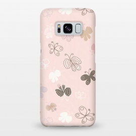 Galaxy S8+  Pretty Pink and Purple Butterflies on Light Pink by Paula Ohreen