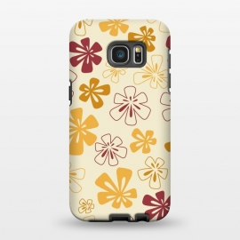 Galaxy S7 EDGE  Gold Funky Flowers by Paula Ohreen