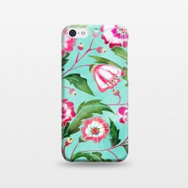 iPhone 5C  Flori by Uma Prabhakar Gokhale (watercolor, pattern, floral, tropical, exotic, nature, bloom, blossom, flowers, leaves, pink, sea green, green, blue, flourish)