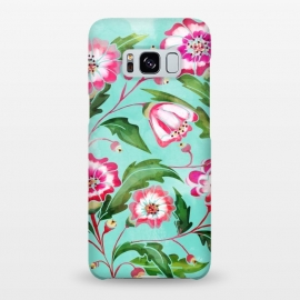 Galaxy S8+  Flori by Uma Prabhakar Gokhale (watercolor, pattern, floral, tropical, exotic, nature, bloom, blossom, flowers, leaves, pink, sea green, green, blue, flourish)
