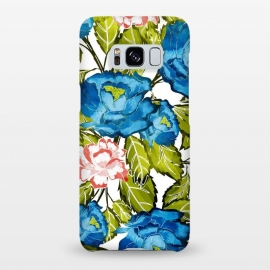 Galaxy S8+  Indigo Bloom by Uma Prabhakar Gokhale (watercolor, pattern, floral, flowers, blue, indigo, blossom, bloom, nature, botanical, leaves, green, exotic, pink, red, bold)