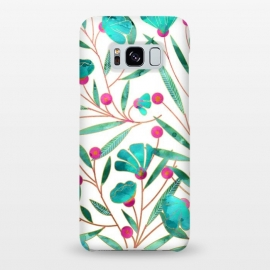 Galaxy S8+  Turquoise Floral by Uma Prabhakar Gokhale (watercolor, pattern, turquoise, blue, teal, pink, gold, floral, blossom, exotic, bloom, flourish, white, nature, botanical)
