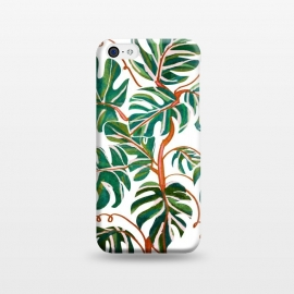 iPhone 5C  Monstera Deliciosa by Uma Prabhakar Gokhale (watercolor, nature, monstera, tropical, leaves, vines, green, fresh, brown, pink, exotic, botanical)