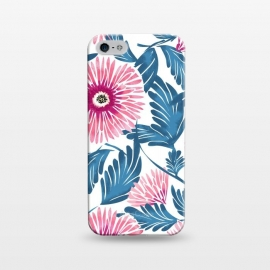 iPhone 5/5E/5s  Gerbera Bloom by Uma Prabhakar Gokhale (watercolor, pattern, gerbera, exotic, blue, pink, blossom, nature, botanical, flowers, colorful, petals, leaves)