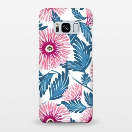 Galaxy S8+  Gerbera Bloom by Uma Prabhakar Gokhale (watercolor, pattern, gerbera, exotic, blue, pink, blossom, nature, botanical, flowers, colorful, petals, leaves)
