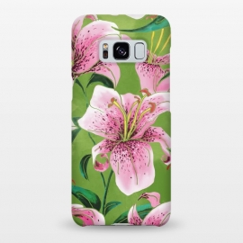 Galaxy S8+  Tiger Lily by Uma Prabhakar Gokhale (watercolor, pattern, lily, tiger lily, floral, nature, green, fresh, bold, pink, botanical, blossom, bloom, exotic, leaves)