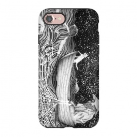 iPhone 8/7  The Fisherman's Companion by ECMazur  (fisherman,fishing,cat,boat,night,stars,sky,white cat,illustration,ocean,sea,fish)