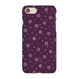 iPhone 8/7  Flowers Made Of Dots Pattern On Purple by Boriana Giormova