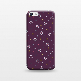 iPhone 5C  Flowers Made Of Dots Pattern On Purple by Boriana Giormova